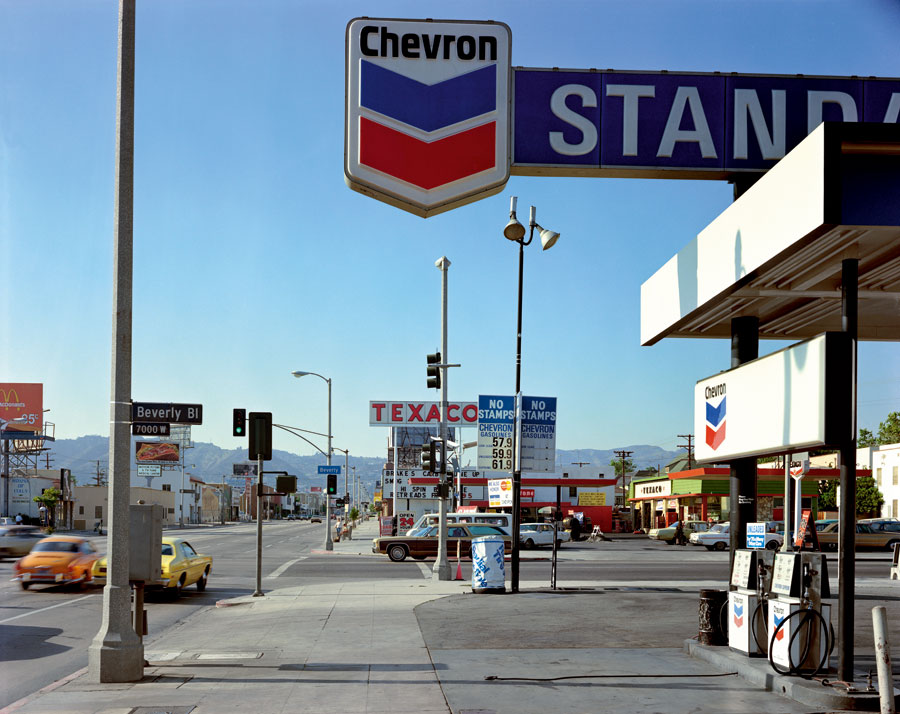 "Beverly Boulevard And La Brea Avenue, Los Angeles, California, June 21, 1975. From The Series ""Uncommon Places"" © Stephen Shore. Courtesy 303 Gallery, New York"