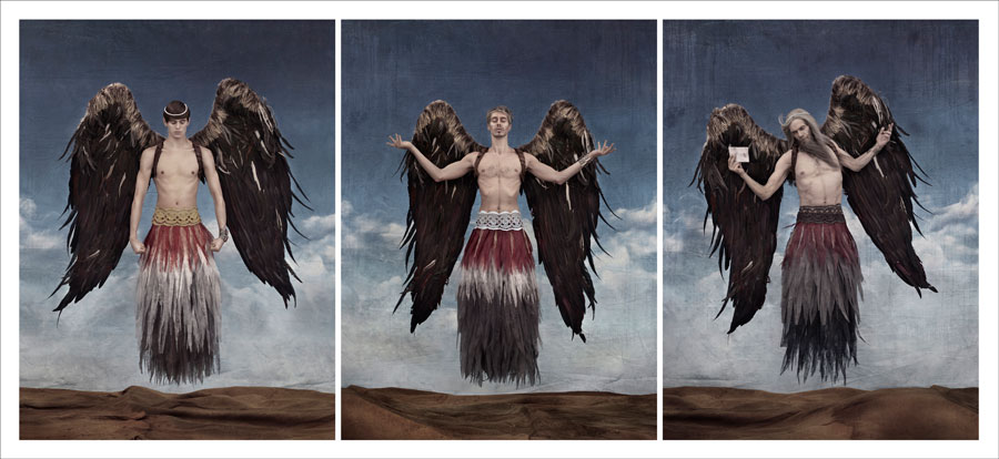 Triptych The Messenger By Rancinan © RANCINAN, Courtesy Fine Art Cube, Ivry-Sur-Seine, Frankreich